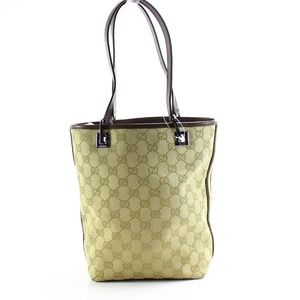 Gucci Beige Brown Silver Canvas GG Eclipse Tote